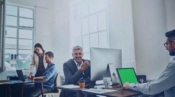 persone di una squadra al lavoro che sono gestite da piattaforma online