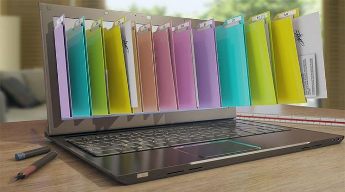 File digitali uscendo da dentro un software di gestione