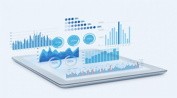 schermo di tablet con grafici e analytics che escono di dentro il device